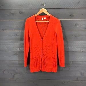 ANTHROPOLOGIE Moth 5-Button Cardigan Orange Sz S